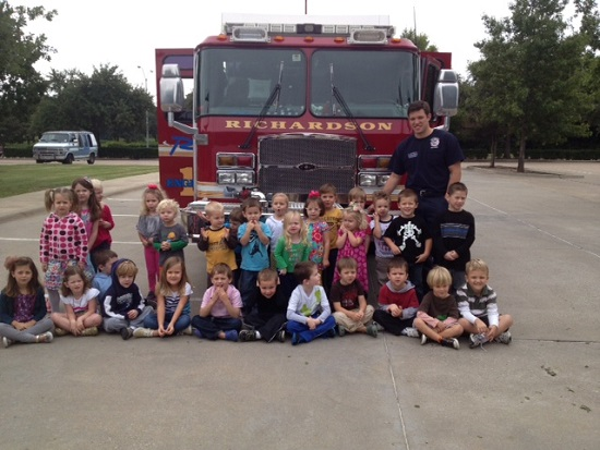 Michaels class with firefighters